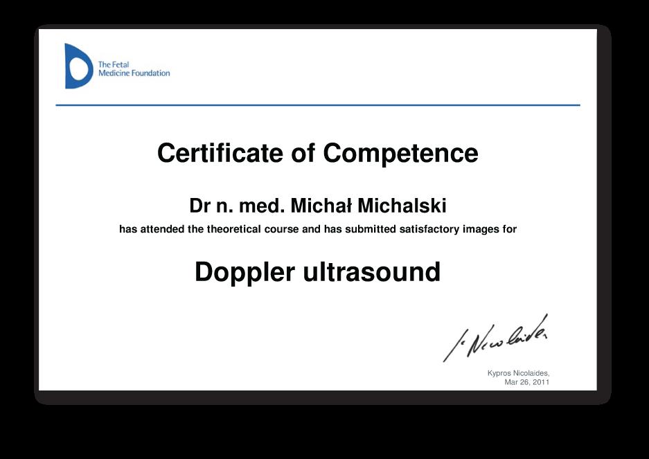 Certyfikat badań dopplerowskich w ciąży
