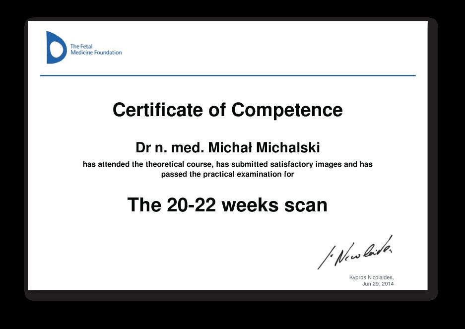 Certyfikat badań prenatalnych drugiego trymestru ( 18 - 23 ) ciąży