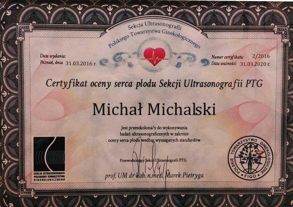 Certyfikat oceny serca płodu Sekcji Ultrasonografii PTG