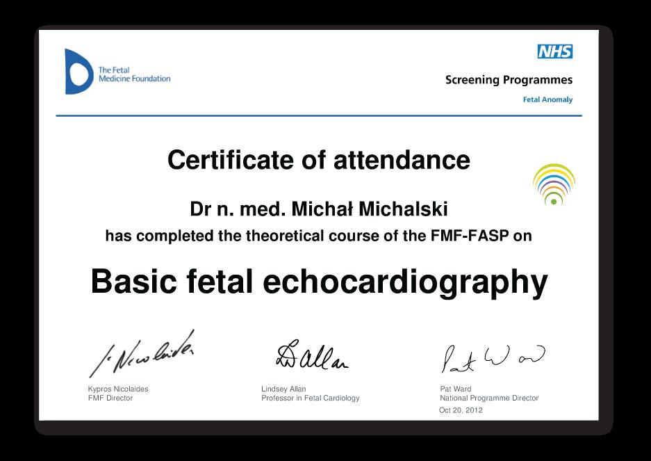 Certyfikat podstawy echokardiografii płodowej